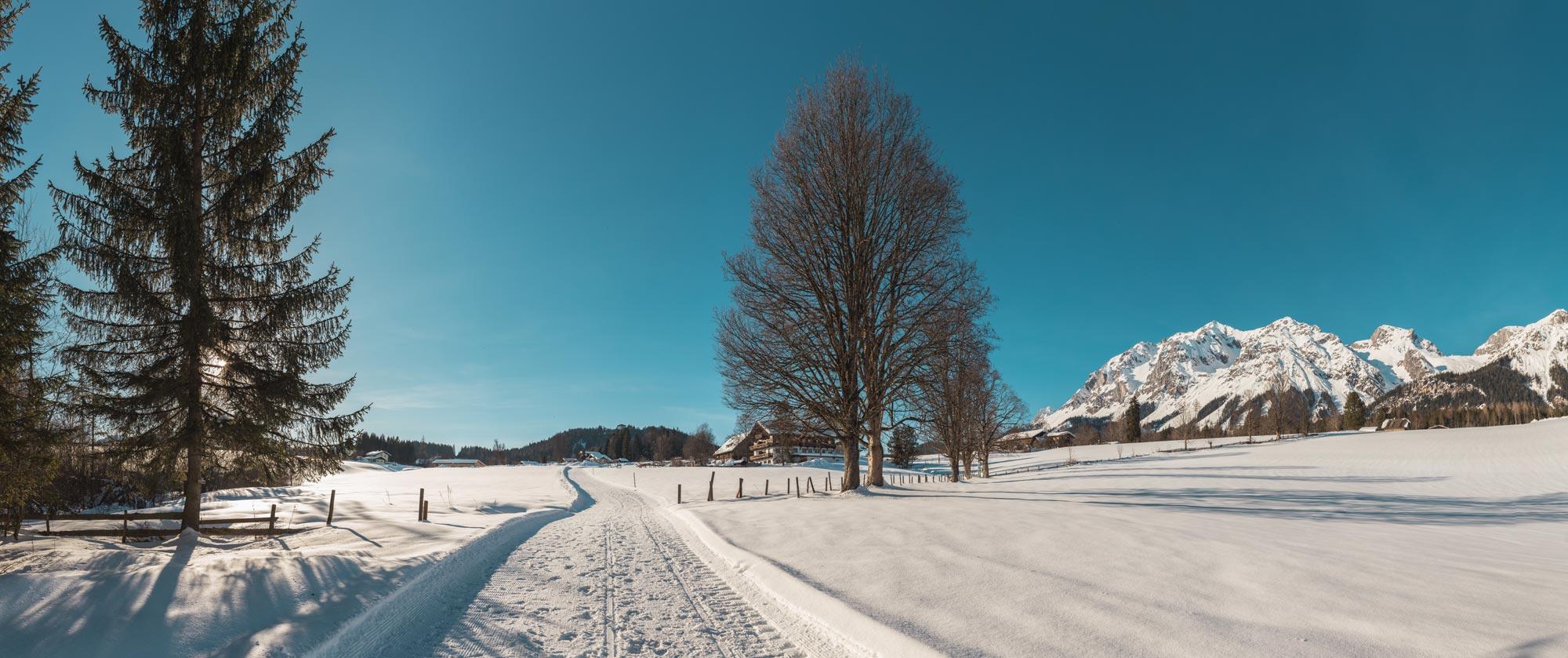 Winterwanderg direkt vor dem Bacherhof
